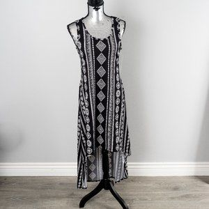 NWT Patterned High-Low Maxi Dress - Black - large